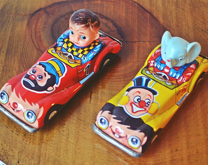 Two Vintage Friction Powered Comic Cars, One Tin Litho Friction Penny Toy Crown Car
