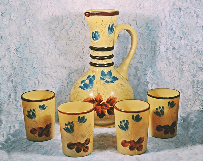 Victorian Bristol Glass Pitcher And Tumblers, Caramel Coloured, Antique Glass With Enamel Overlay