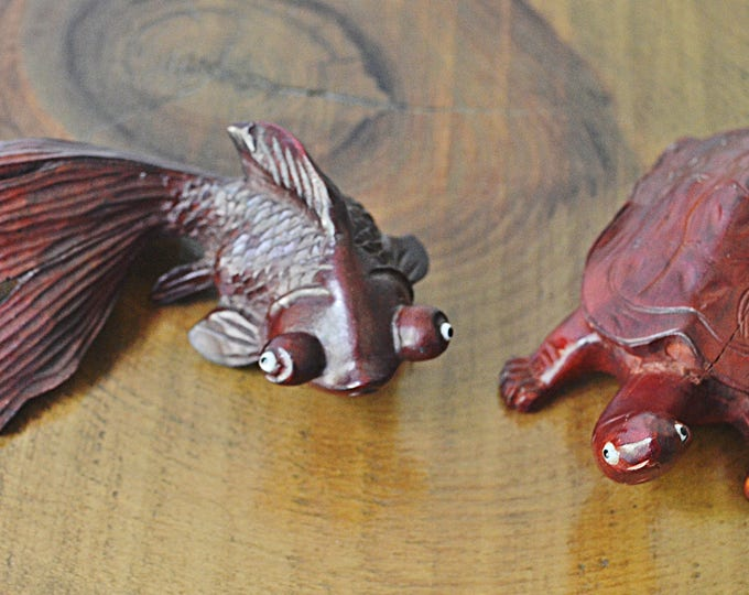 Asian Rosewood Carvings, Wood Turtle Carving, Wood Goldfish Koi Carving