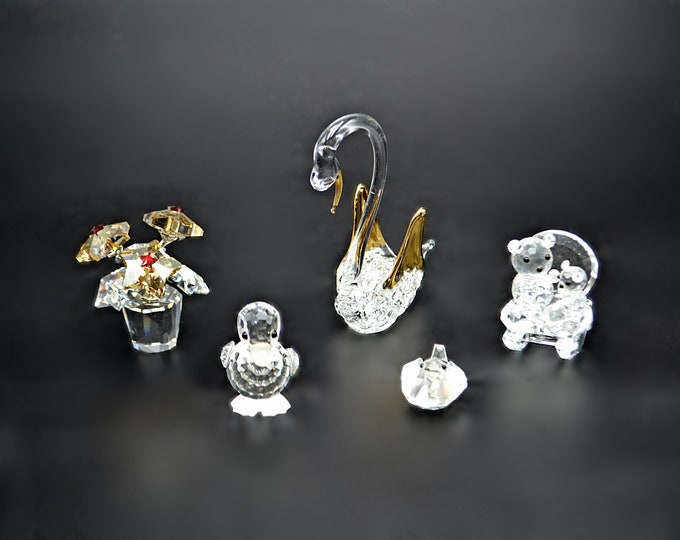 Vintage Crystal And Glass Miniature Figurines, Swan, Rocking Chair Teddy Bears, Flower Pot, Standing Duck, Lying Duck