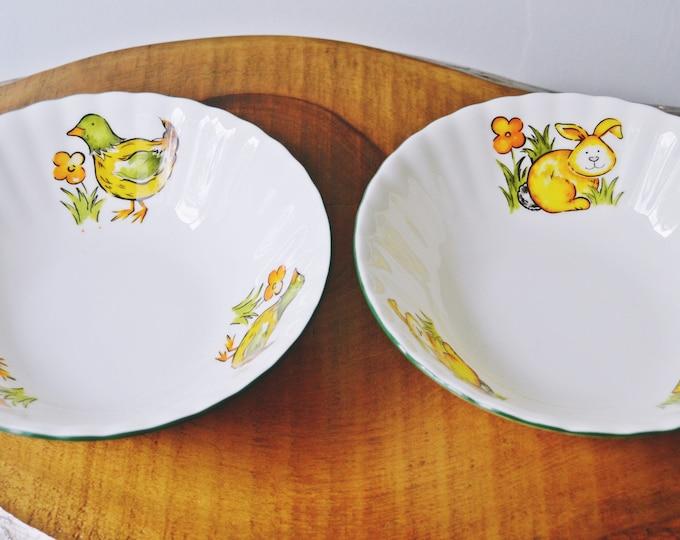 Royal Vale Bowls, Children's Bowls, Chicken, Bunny, Soup Bowl, Cereal Bowl