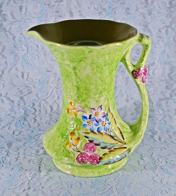 James Kent Ltd Fenton Pitcher Flower Frog, Vintage Jug, Green Floral, Table Centerpiece