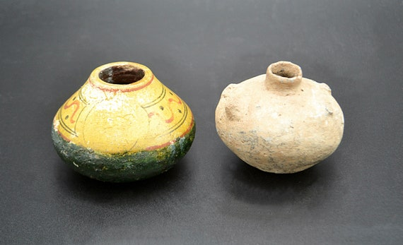 Primitive Indigenous Pottery, Native Clay Vases / Pots