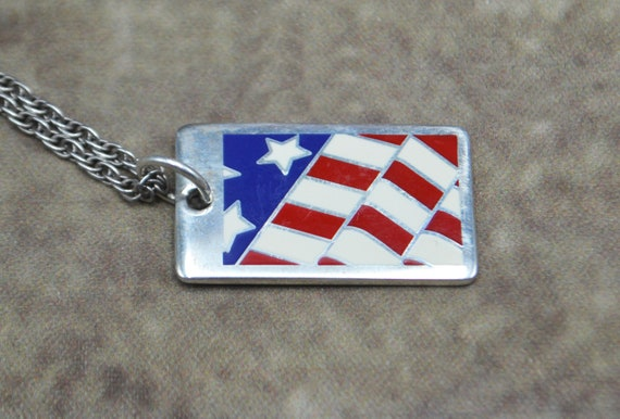 Tiffany & Co American Flag Pendant, Sterling Silver