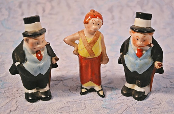 Maggie And Jiggs Salt And Pepper Shakers, 1930's German, Bringing Up Father Comic Strip Characters