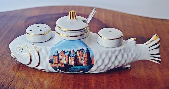 French Porcelain Fish Cruet Set, Porcelain Condiment Set, Salt Pepper Mustard Pot