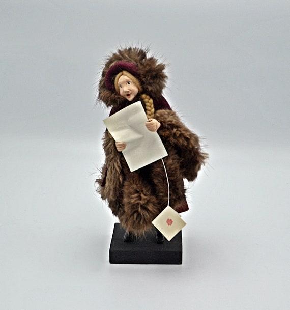 OOAK Christmas Caroler Figurine, Handmade Christmas Decoration