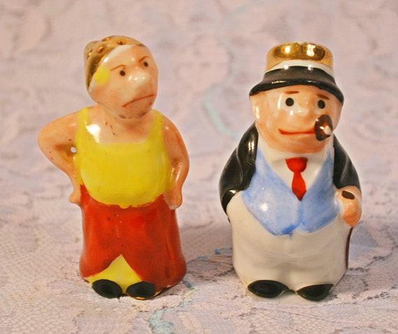 Maggie And Jiggs Salt And Pepper Shakers, Bringing Up Father Character Shakers, Miniature Figural Shakers
