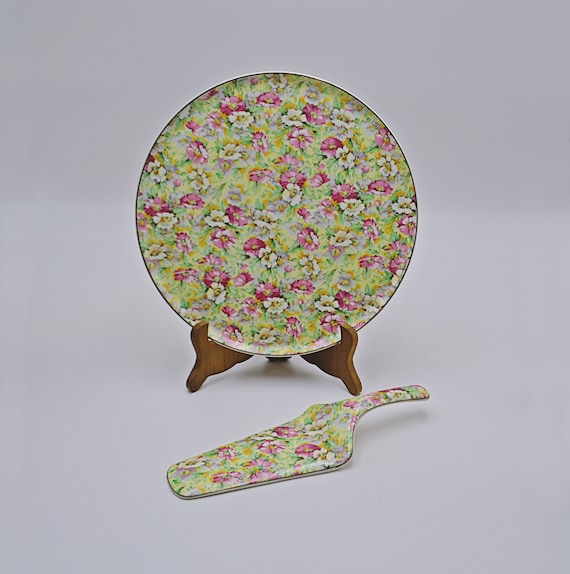 1950's Portland Pottery Chintz Cake Plate And Server, Ridgway Potteries