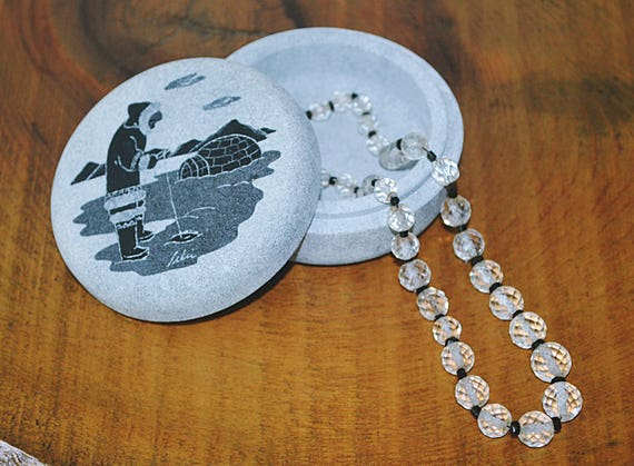 Soapstone Trinket Box, Inuit Design Jewelry Box, Canadian Aboriginal Soapstone Ring Box, Crystal Glass Choker Style Necklace