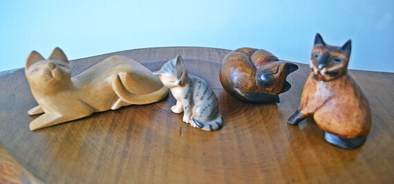 Vintage Wood Cat Figurines, Wood Carvings