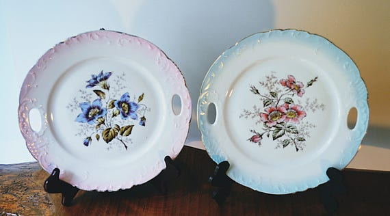 Two Vintage Floral Plates, Plates With Handles, Display Plates