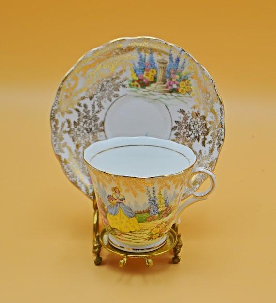 Colclough Teacup And Saucer, Crinoline Lady