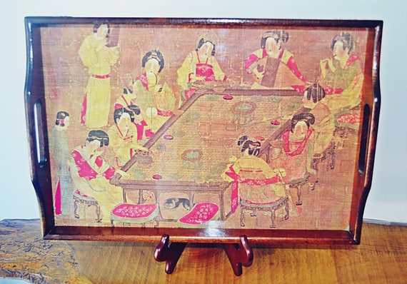 Japanese Wood Tray With Signed Print, Vintage Wood Tray
