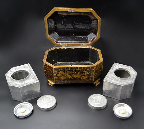 Antique Asian Tea Caddy, Mid 1800's Chinese Tea Box With Pewter Inserts