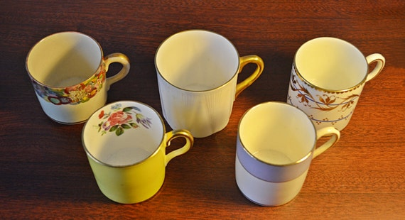 5 Vintage Antique Demitasse Cups, Collection Of Cups, Collector Cups
