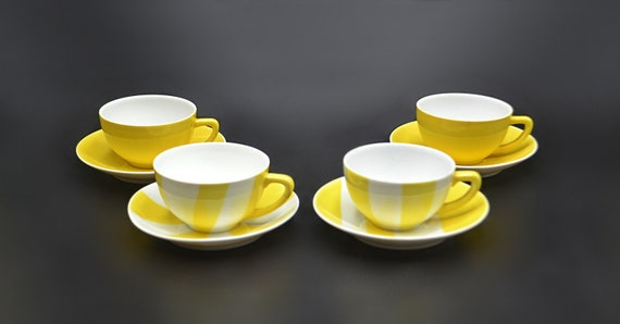Zsolnay Pecs Art Deco Demitasse Cups And Saucers, Yellow And White Teacups