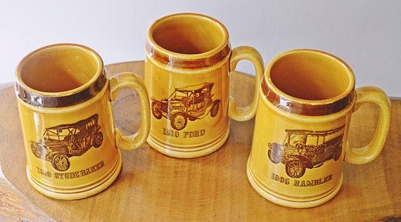 Vintage Car Mugs, Antique Car Mugs, Automobile Mugs, Made In Japan