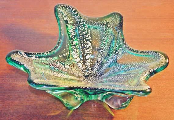 Art Glass Bowl, Green Bowl With Silver Leaf