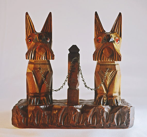 Wood Carved Scottie Dogs, Scottish Terrier Wood Carving, Folk Art Carving