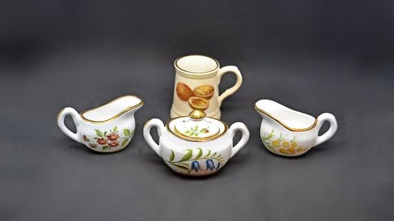 Hammersley Miniatures, Royal Worcester Palissy Miniature, Doll Size Creamer, Sugar Dish, Mug
