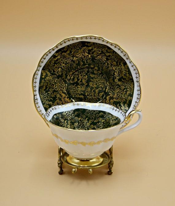 Royal Albert Teacup And Saucer, Mayfair Series Green