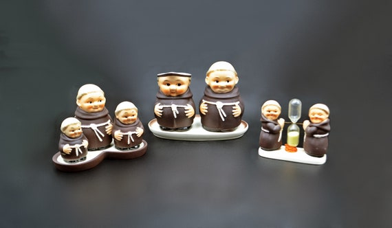 Goebel Friar Tuck Lot, Creamer And Sugar Dish on Stand, Condiment Dishes On Stand, Sand Timer