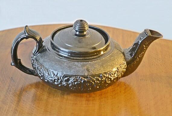 Antique Basalt Bachelor's Teapot, Tea For One, Black Teapot, Collectible Teapot