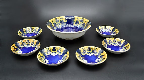 Antique H Boulenger & Co Choisy Le Roi France, Berry Bowl With Fruit Nappies, Faience Bowl Set