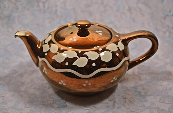 Copper Lustre Teapot, Lancaster Ltd Hanley England, 1940's Teapot, Small Teapot