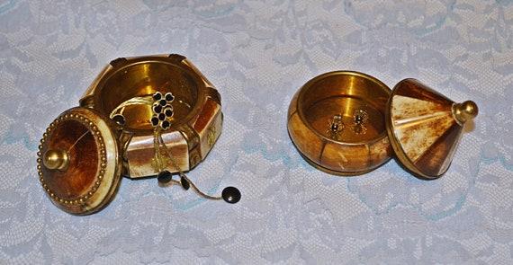 Brass And Bone Trinket Boxes, Pill Box