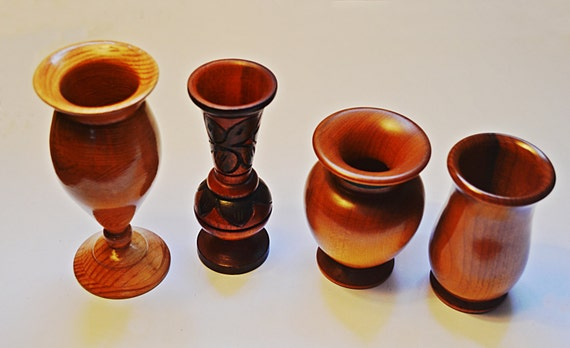 Four Wood Cabinet Vases, Hand Turned Wood, Hand Made By Artists World Wide, Wood Candle Holders