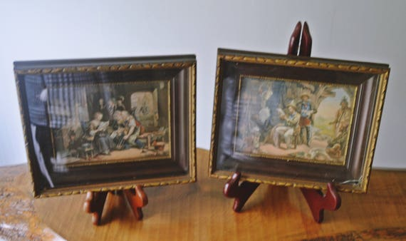 2 George Baxter Prints, Antique Prints in Frames, 1800's Prints