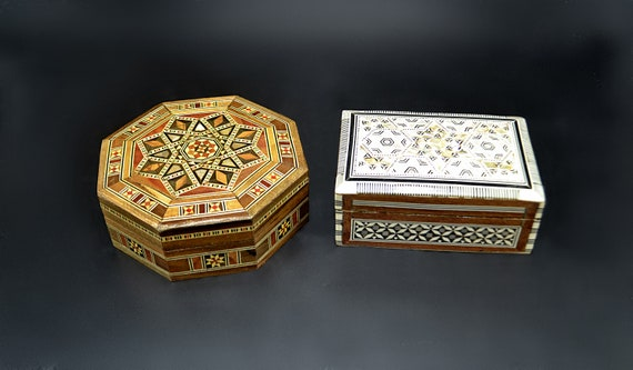 Two Mother Of Pearl Inlay Boxes, Octagonal Marquetry Box, Lined Boxes