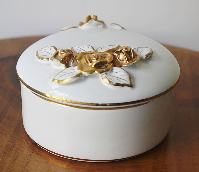 Pereiras Valado Portugal Porcelain Trinket Box White Porcelain With Gilt Roses