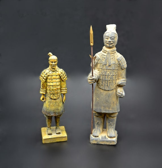 Chinese Warrior Statues, Resin And Terracotta Figurines