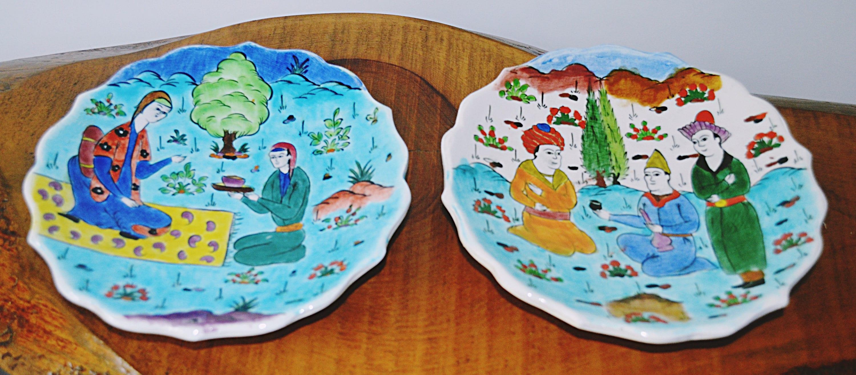 Vintage Kutahya Turkey Wall Plates Hand Painted Turkish Plates Turkuaz Cini Kutahya