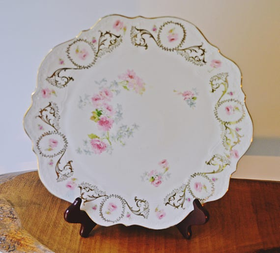 C.T Germany Platter, Carl Tielsch & Co Cake Plate, Antique Floral Plate