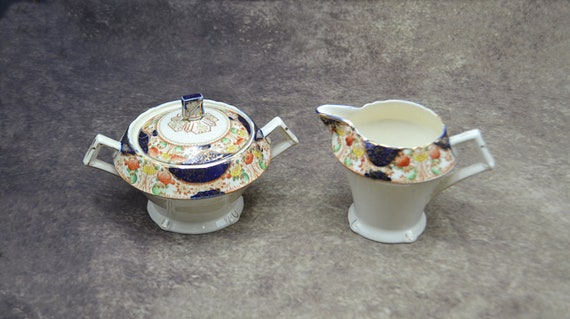 Myott Son & Co Creamer And Lidded Sugar Bowl, Corona Pattern