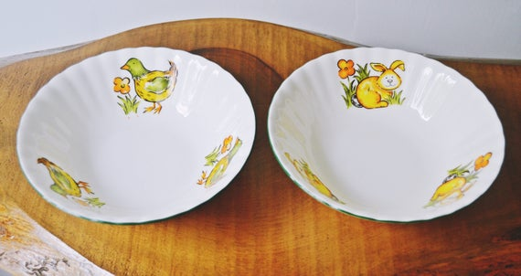 Royal Vale Bowls, Children's Bowls, Chicken, Bunny, Soup Bowl, Cereal Bowl