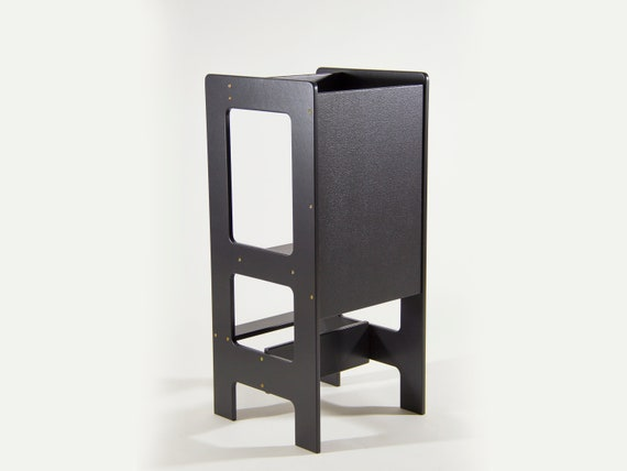 Black Helper Tower Montessori Learning Tower Kitchen Step Stool Kitchen Helper Stool Ships Assembled