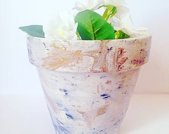Hand Painted Terracotta Pot - Marble