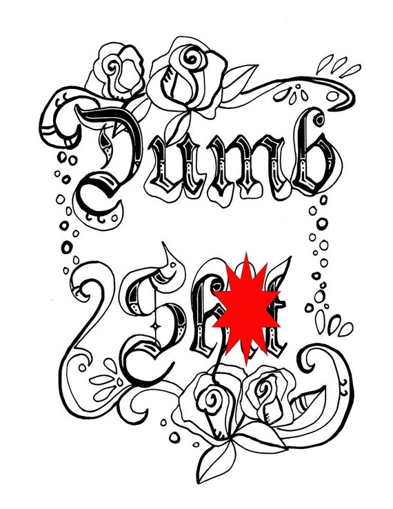 - Swear Word Coloring Sheet Page Printable Dumb Sht Etsy