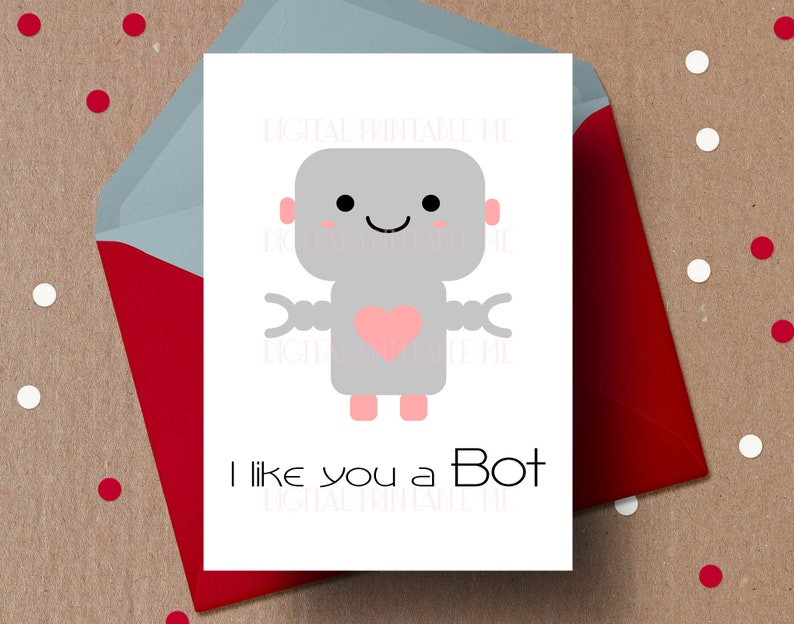 Robot Valentines Day Card Anniversary Printable