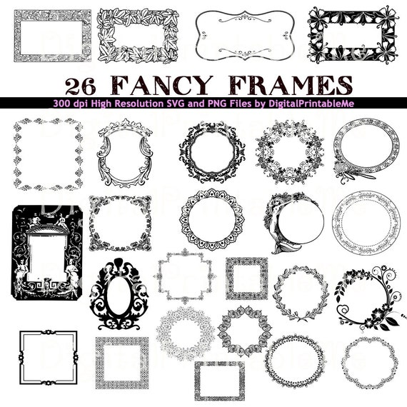 Frame Clip Art Set Border 26 Images Fancy Pack Art Deco Etsy