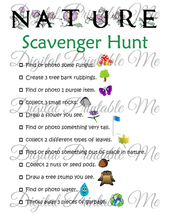Nature Scavenger Hunt Printable, Kids Activity, Backyard, Game, Download, Party, Spring, Walking, Hike, Activities Children, Earth Day sheet