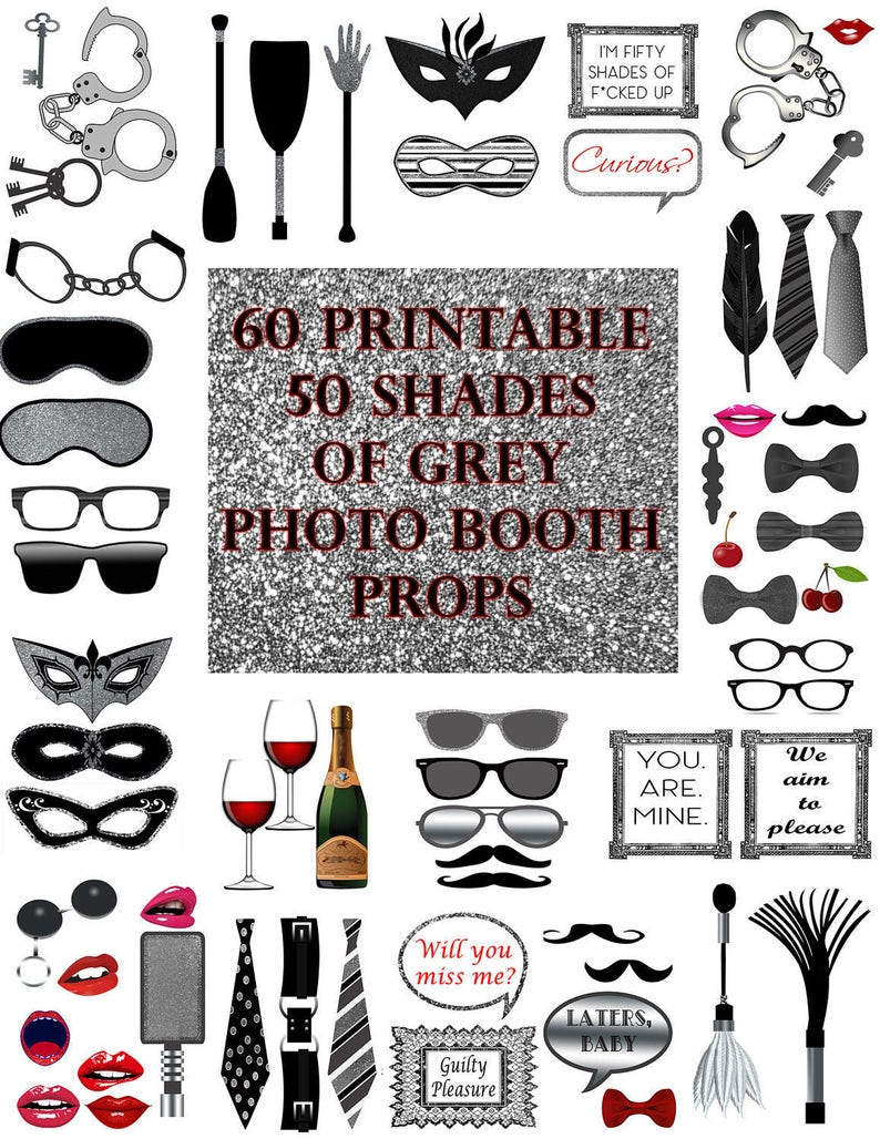 graphic about Printable Photo Booth Props referred to as 50 Colours of Gray Picture Booth Props Fastened Glitter Printable Fast Down load social gathering photobooth recreation bdsm erotic bachelorette grownup y prop