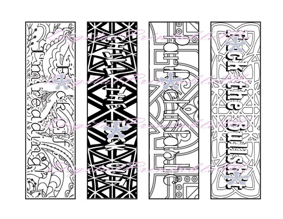 Printable Bookmark Digital Bookmark Adult Coloring Pages Book Etsy