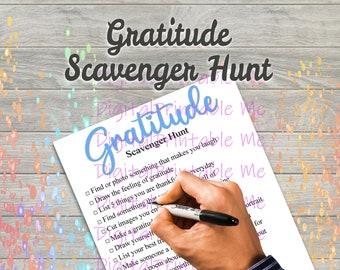 Gratitude Scavenger Hunt Printable, Kids Activity, Game, Download, thankful, kindness, Children , party favor, interactive social distance