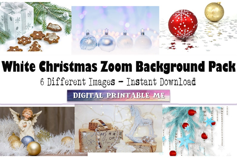 Holiday angel,ornament Virtual gingerbread festive winter 6 Digital Download White Christmas Zoom Background video conference backdrop